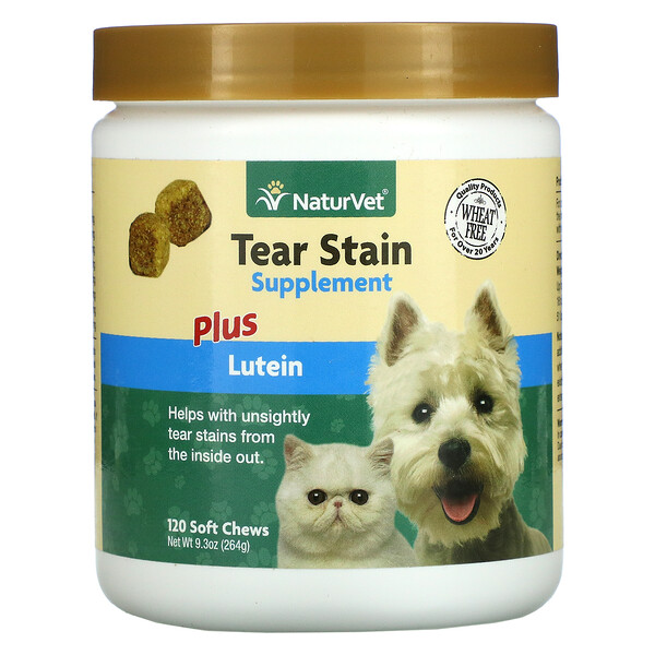 NaturVet, Tear Stain Supplement Plus Lutein, 120 Soft Chews, 9.3 oz (264 g)