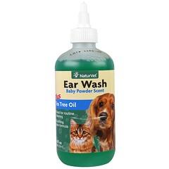 NaturVet, 洗耳液加茶樹油,嬰兒爽身粉,8 液量盎司(236 毫升)