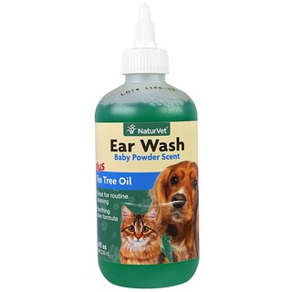 NaturVet, Ear Wash Plus Tea Tree Oil, Baby Powder Scent, 8 fl oz (236 ml)