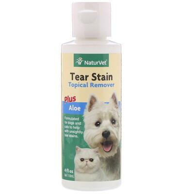 Купить NaturVet Tear Stain, средство для удаления пятен от слез с шерсти для животных с алоэ, для собак и котов, 4 жидк.унции (118мл)