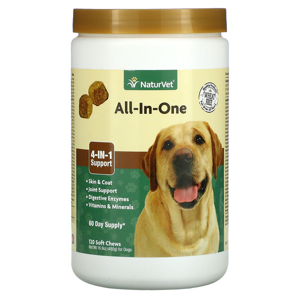 NaturVet, All-In-One, 4-In-1 Support, For Dogs, 120 Soft Chews, 16.9 oz (480 g)