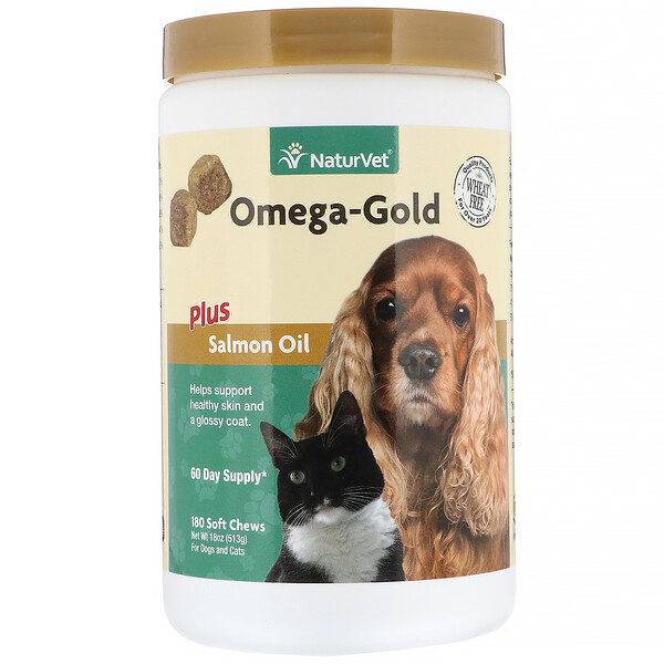 NaturVet, Omega-Gold Plus Salmon Oil, For Dogs and Cats, 180 Soft Chews