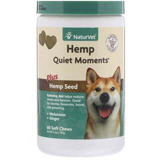 NaturVet, Hemp Quiet Moments, Plus Hemp Seed, 60 Soft Chews, 6.3 oz (180 g)