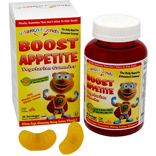 Vitamin Friends, Boost Appetite Vegetarian Gummies, 36 Orange Pectin Gummies