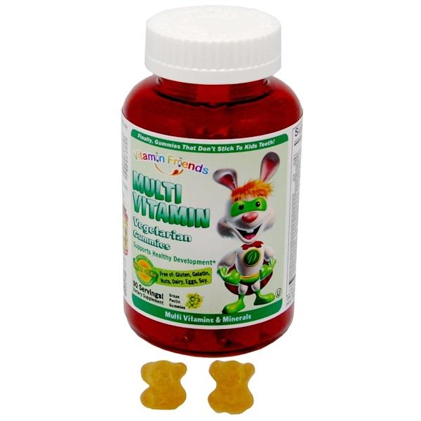 Vitamin Friends, متعدد الفيتامين، علكات نباتية، 90 علكة بكتين عنب (Discontinued Item)