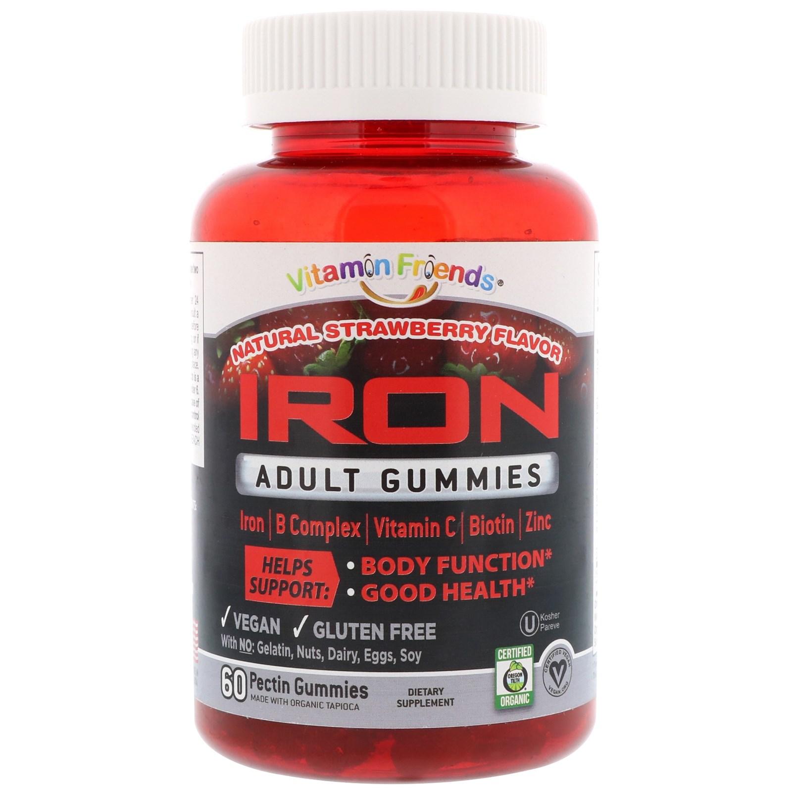 Vitamin Friends, Железо, жевательные конфеты для взрослых, натуральная клубника, 60 жевательных конфет с пектином