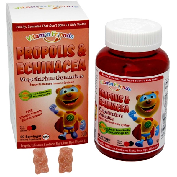 Vitamin Friends, PropoBear, Propolis & Echinacea Gummies, Berry, 60 Pectin Bears