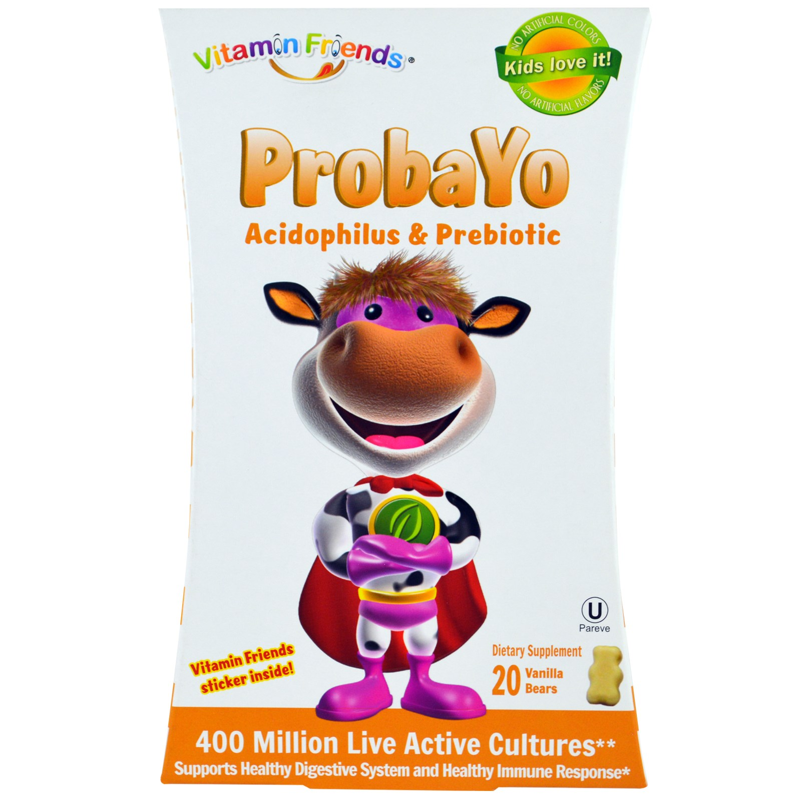 Vitamin Friends, Probayo, ацидофилус и пребиотик, 20 ванильных мишек