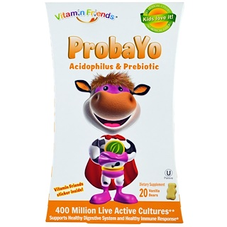 Vitamin Friends, Probayo, Acidophilus & Prebiotic, 20 Vanilla Bears