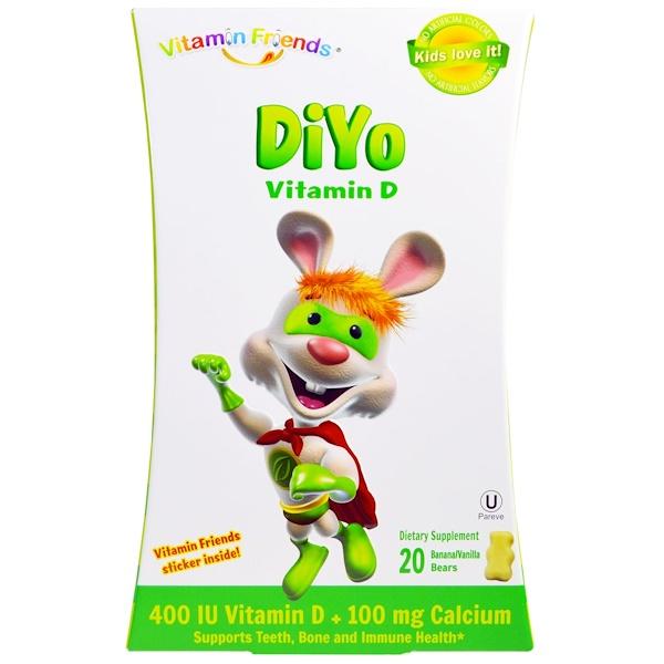 Vitamin Friends, DiYo Vitamin D, Banana/Vanilla, 20 Bears (Discontinued Item)