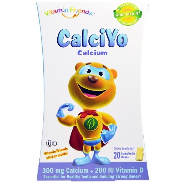 Vitamin Friends, CalciYo, Calcium, Banana/Vanilla Yogurt Bears, 20 Bears (Discontinued Item)