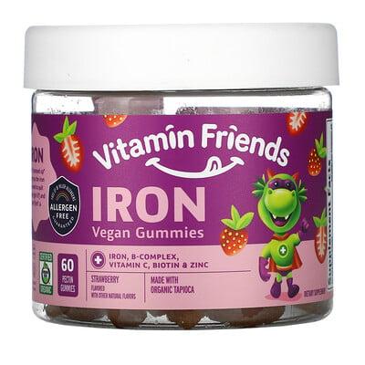 Vitamin Friends веганские жевательные таблетки с железом, клубника, 60жевательных таблеток с пектином
