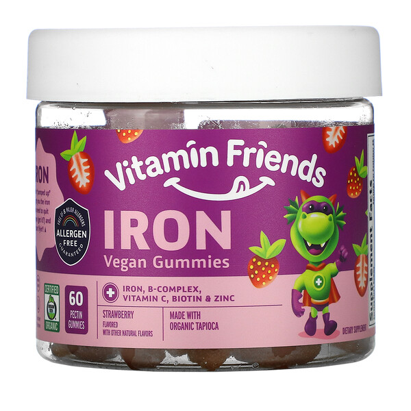 Iron Vegan Gummies, Strawberry, 60 Pectin Gummies