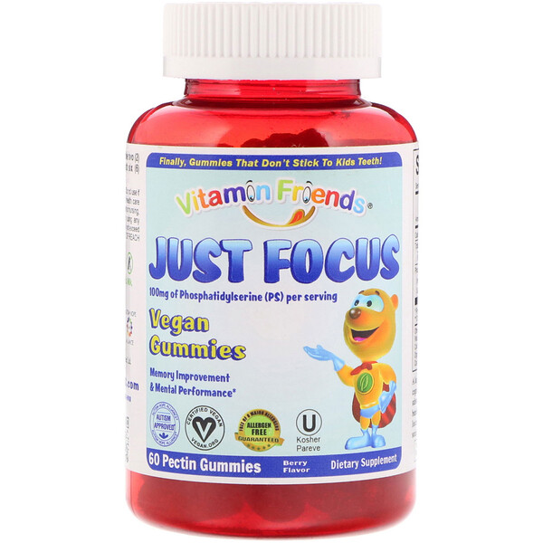 Vitamin Friends, Just Focus, Vegan Gummies, Berry Flavor, 60 Pectin Gummies