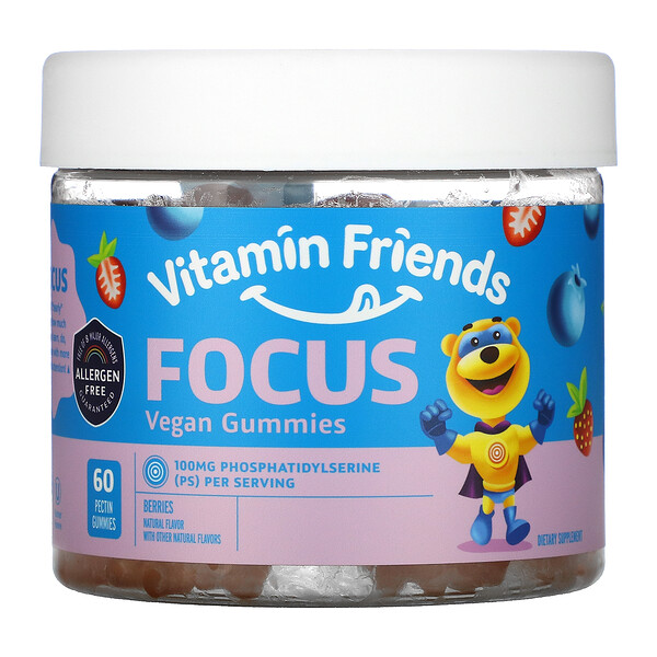 Vitamin Friends, Focus Vegan Gummies, Berries, 60 Pectin Gummies