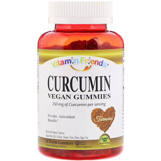 Vitamin Friends, Curcumin, Vegan Gummies, Natural Mango Flavor, 60 Pectin Gummies
