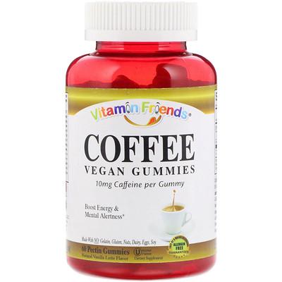 Vitamin Friends Coffee, Vegan Gummies, Natural Vanilla Latte Flavor, 60 Pectin Gummies