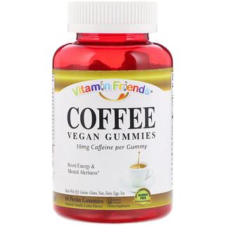 Vitamin Friends, Coffee, Vegan Gummies, Natural Vanilla Latte Flavor, 60 Pectin Gummies