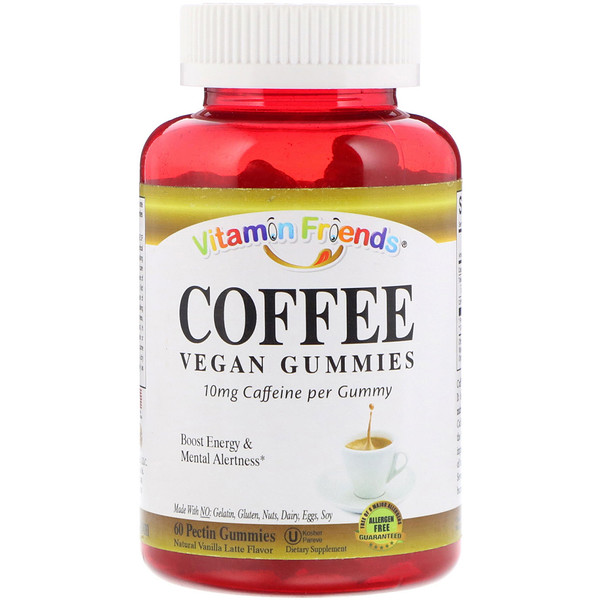 Vitamin Friends, Coffee, Vegan Gummies, Natural Vanilla Latte Flavor, 60 Pectin Gummies (Discontinued Item)