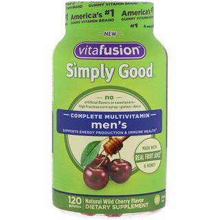 VitaFusion, Simply Good, Men's Complete Multivitamin, Natural Wild Cherry Flavor, 120 Gummies