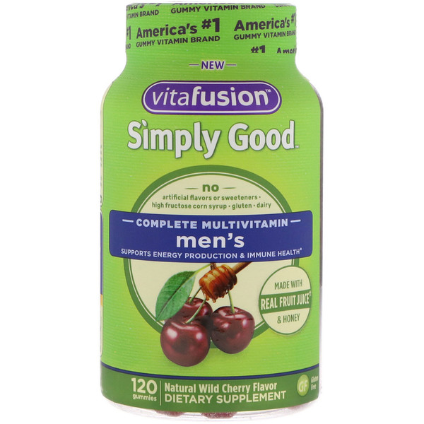 VitaFusion, Simply Good, Men's Complete Multivitamin, Natural Wild Cherry Flavor, 120 Gummies (Discontinued Item)
