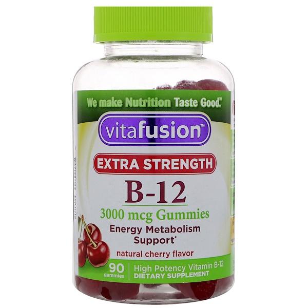 VitaFusion, 強效維生素 B-12,天然櫻桃味,3000 微克,90 粒軟糖