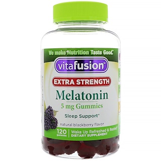 VitaFusion, Extra Strength Melatonin, Natural Blackberry Flavor, 5 mg, 120 Gummies
