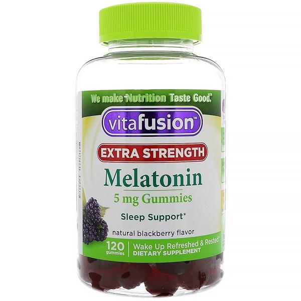 VitaFusion, 強效褪黑素,天然黑莓味,5 毫克,120 粒軟糖