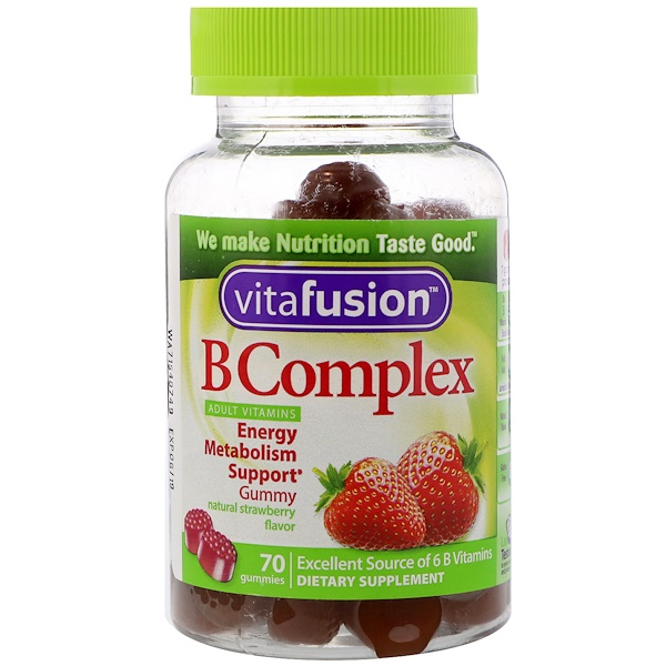VitaFusion, B Complex Adult Vitamins, Natural Strawberry Flavor, 70 Gummies (Discontinued Item)