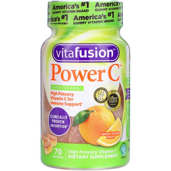 Power C, High Potency Vitamin C, Natural Orange Flavor, 70 Gummies