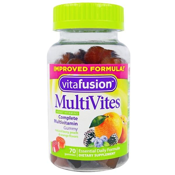 VitaFusion, MutiVites, Complete Multivitamin, Natural Berry, Peach & Orange Flavors, 70 Gummies