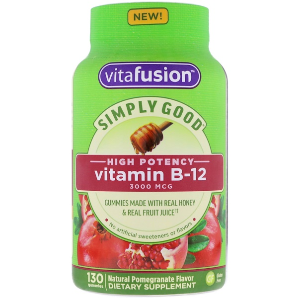 VitaFusion, Simply Good, Vitamin B-12, Natural Pomegranate Flavor, 3,000 mcg, 130 Gummies (Discontinued Item)