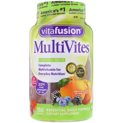 Купить VitaFusion MultiVites, незаменимые мультивитамины, натуральный ягодный, персиковый и апельсиновый вкусы, 150жевательных таблеток