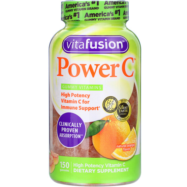 Power C, High Potency Vitamin C, Natural Orange Flavor, 150 Gummies