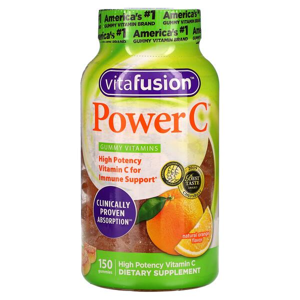 Power C, High Potency Vitamin C, Natural Orange Flavor, 150 Gummies