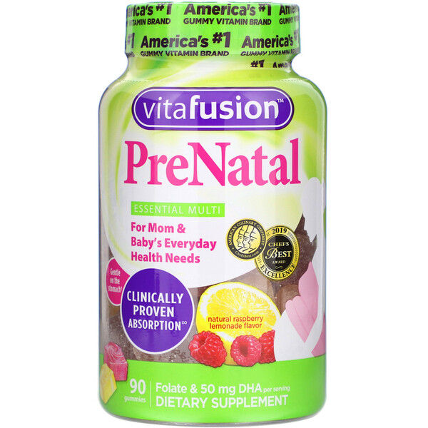 VitaFusion, PreNatal, Folate & DHA, Natural Raspberry Lemonade Flavor, 90 Gummies