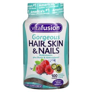 VitaFusion, Gorgeous Hair, Skin & Nails Multivitamin, Natural Raspberry, 100 Gummies
