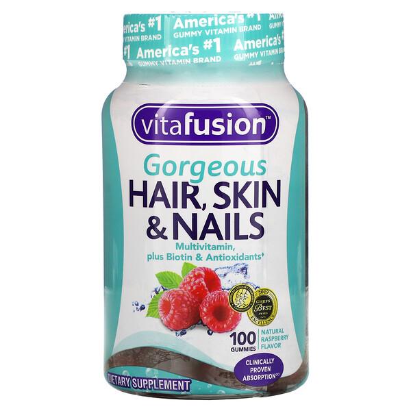 VitaFusion, 美丽秀发、肌肤&指甲综合维生素,天然覆盆子口味,100 粒软糖