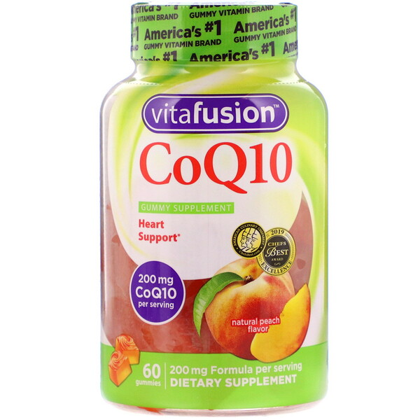VitaFusion, CoQ10, Natural Peach Flavor, 200 mg, 60 Gummies