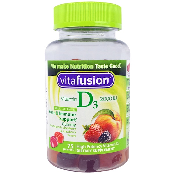 VitaFusion, Vitamin D3, Natural Peach, Blackberry & Strawberry Flavors, 2000 IU, 75 Gummies