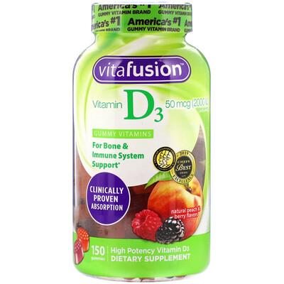 Купить VitaFusion ВитаминD3 с натуральным вкусом персика и ягод, 50мкг (2000МЕ), 150жевательных таблеток