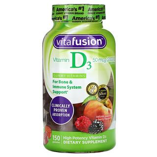 VitaFusion, VitaminaD3, Saborizantes de durazno y bayas naturales, 50mcg (2000UI), 150gomitas
