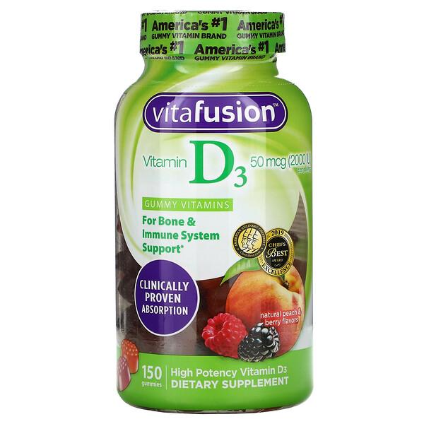 VitaFusion, فيتامين د3، بنكهات الخوخ والتوت الطبيعية، 50 مكجم (2000 وحدة دولية)، 150 علكة