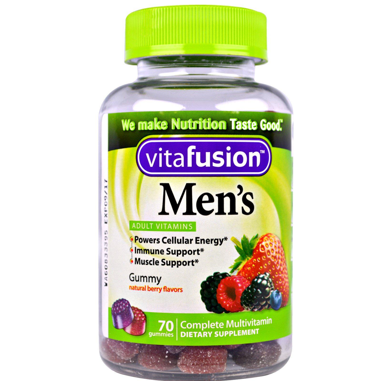 VitaFusion, Мультивитамины для мужчин, натуральный вкус ягод, 70 жевательных таблеток