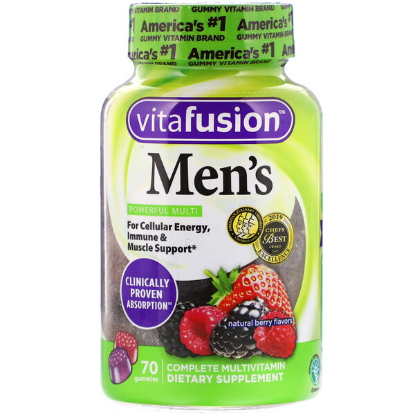 VitaFusion, Men's Complete Multivitamin, Natural Berry Flavors, 70 Gummies