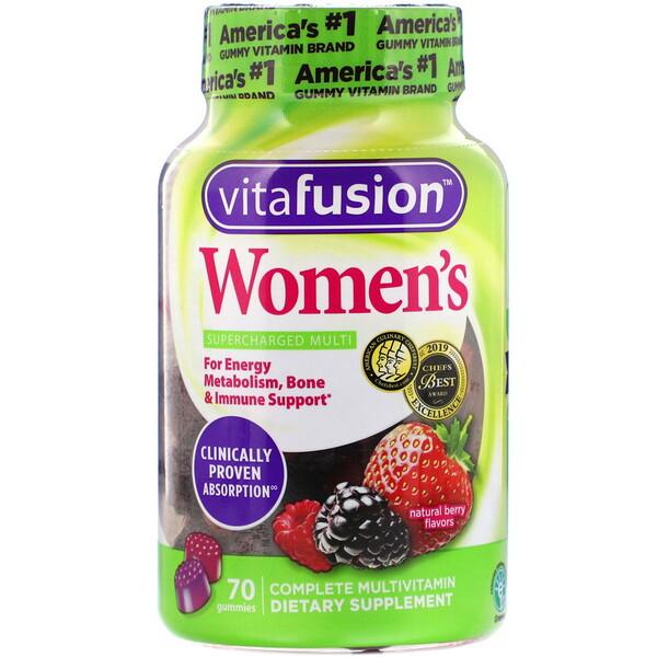 Multivitamínico Completo Para Mulheres, Sabor Natural Frutas Vermelhas, 70 balas de gelatina