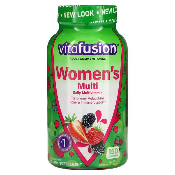 VitaFusion, กัมมี่วิตามินสำหรับผู้หญิง รสเบอร์รี่ธรรมชาติ บรรจุ 150 ชิ้น