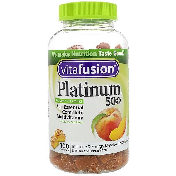 VitaFusion, 白金50+維生素軟糖,天然桃子味,100粒軟糖