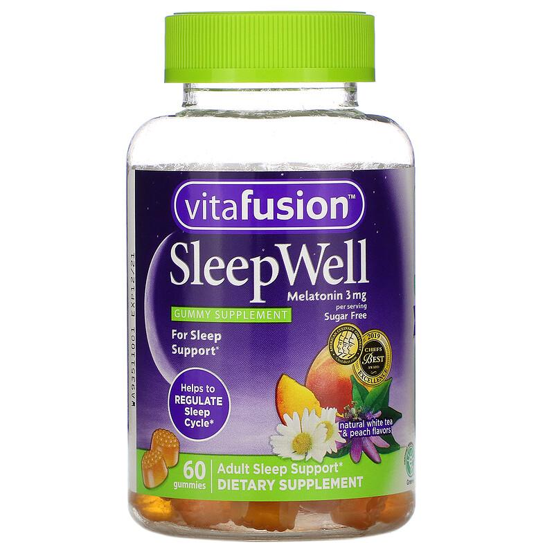 VitaFusion, SleepWell,成年人睡眠支援,天然白茶和桃子味,60 粒軟糖
