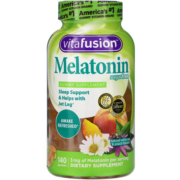 VitaFusion, Melatonin, Sugar Free, Natural White Tea & Peach Flavors, 140 Gummies